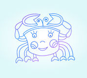 Blue line drawing of sea animal, underwater Royalty Free Stock Photos