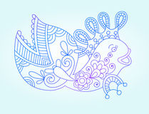 Blue line drawing of sea monster, underwater. Decorative fish, graphic design element for print or web, vector illustration eps10 Royalty Free Stock Photography