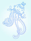Blue line drawing of sea monster, underwater. Decorative medusa, graphic design element for print or web, vector illustration eps10 Stock Images