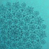 Blue line drawn flowers circle background Stock Photos