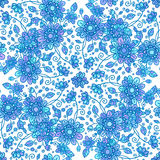 Blue line drawn flowers seamless pattern Royalty Free Stock Photo