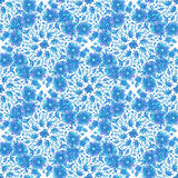 Blue line drawn flowers seamless pattern Royalty Free Stock Photos