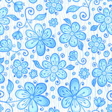 Blue line drawn flowers seamless pattern Stock Images