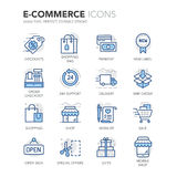Blue Line E-Commerce Icons Stock Photography