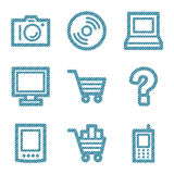 Blue line electronics icons Stock Photo