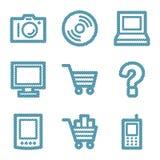 Blue line electronics icons Stock Photo