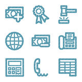 Blue line finance 2 icons. Vector web icons, blue line contour series, V2 Stock Photos