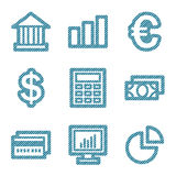 Blue line finance icons. Vector web icons, blue line contour series, V2 Royalty Free Stock Image
