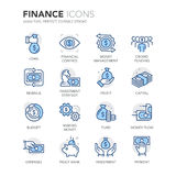 Blue Line Finance Icons. Simple Set of Finance Related Color Vector Line Icons. Contains such Icons as and Crowd Funding, Capital, Money Flow, Money Management Stock Photography