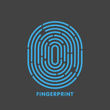 Blue line fingerprint in black background  illustration.  Royalty Free Stock Photo