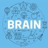 Blue Line Flat Circle illustration brain stock illustration