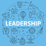 Blue Line Flat Circle illustration leadership Royalty Free Stock Images