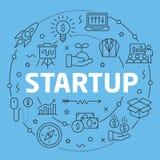 Blue Line Flat Circle illustration Startup Stock Photos