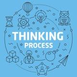 Blue Line Flat Circle illustration thinking process Stock Photo