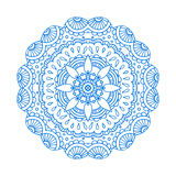 Blue line floral indian mandala Stock Photography