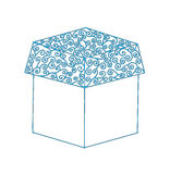 blue line gift box on the white background Stock Photography