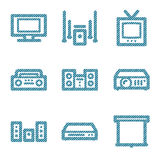 Blue line hi-fi contour icons  Royalty Free Stock Image