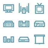 Blue line hi-fi contour icons  Royalty Free Stock Image