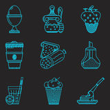 Blue line icons for breakfast menu Royalty Free Stock Photography