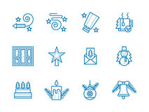 Blue line icons for Christmas Stock Photo