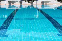 Blue line of lane in  swimming pool Stock Photos
