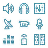 Blue line media icons  Royalty Free Stock Photography