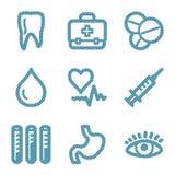 Blue line medicine contour ico Royalty Free Stock Photo