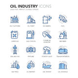 Blue Line Oil Industry Icons Royalty Free Stock Image