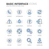 Blue Line Podstawowego interfejsu ikony Zdjęcie Stock