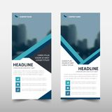 Blue line roll up business brochure flyer banner design , cover presentation abstract geometric background, modern publication. X-banner and flag-banner, layout royalty free illustration
