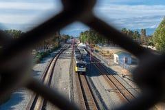 Blue Line-trein in Zuid-Los Angeles royalty-vrije stock afbeelding