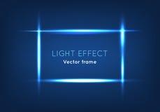 Blue Line vektorram som göras med ljus effekt stock illustrationer