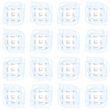 Blue linear leaves and rectangles seamless Stock Photos