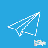 Blue linear paper plane icon Royalty Free Stock Photos