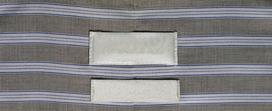 Blue Lined Dress Shirt Label Stock Photo