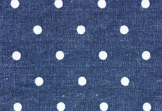 Blue linen fabric polkadot pattern background or texture Royalty Free Stock Images