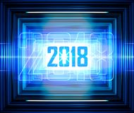 Blue lines background for 2018. Technology background with transparent figures 2018 for New Year royalty free illustration