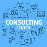 Consulting center Blue Lines Illustration for presentation Royalty Free Stock Images