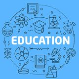 Education Blue Lines Illustration for presentation Stock Photo