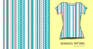 Blue lines and heart seamless pattern vector illustration, t shirt design, fabric texture, patterned clothing Royalty Free Stock Photo