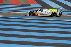 Blue lines and a sport car. LE CASTELET, FRANCE, March 28, 2015 : ByKolles private team  car on track during the training sessions for World Endurance Car Royalty Free Stock Photos