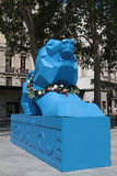 A blue lion in Lyon streets Royalty Free Stock Photography