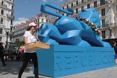Blue lion on Rue de la Republique Royalty Free Stock Photo