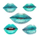 Blue lips set. Blue lips collection. Mouth set. Vector lipstick or lip gloss 3d realistic illustration. Fashion style Royalty Free Stock Image