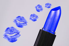 Blue lipstick kisses Stock Photography