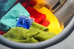 Blue liquid coloured detergent Royalty Free Stock Images