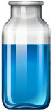 Blue liquid in glass bottle Stock Photo