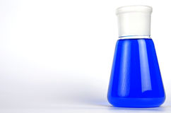 Blue liquid in Laboratory Glassware Stock Image
