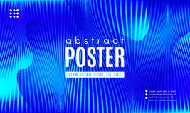 Wave Abstract Background with Color Fluid Shapes. Blue Liquid Shapes. Abstract Poster with Distortion of Wave Stripes. Vector Gradient Background with Movement stock illustration