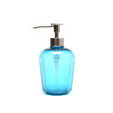 Blue liquid soap in plastic pump bottle.  stock images